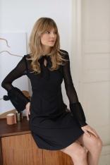Sukienka z Tiulowym Rękawem - Czarna
