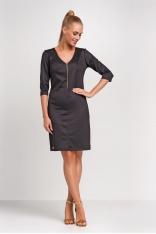 Czarna Dopasowana Sukienka z Suwakiem przy Dekolcie