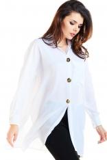 Biała Oversizowa Koszula z Ozdobnymi Guzikami