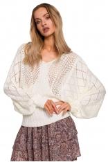 Ażurowy Sweter z Nietoperzowym Rękawem - Ecru