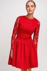 Czerwona Sukienka z Koronkowym Długim Rękawem - Promocja!