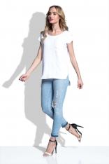 Biała Bluzka Asymetryczna z Kieszonką