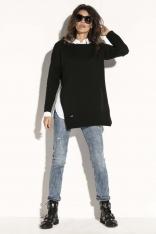 Czarny Wygodny Sweter z Rozporkami na Bokach