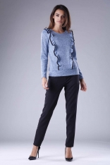 Niebieska Romantyczna Dzianinowa Bluzka z Falbankami