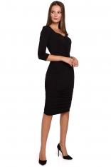 Czarna Dopasowana Sukienka Midi ze Zmysłowym Dekoltem
