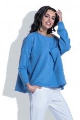 Luźny Niebieski Sweter z Dużą Kieszenią