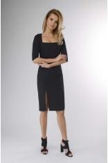 Czarna Ołówkowa Sukienka z Dekoltem Karo