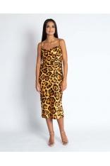 Żółta Midi Sukienka w Zwierzęcy Wzór na Ramiączkach