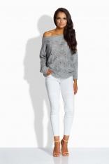 Jasnoszary Sweter z Ażurowym Wzorem