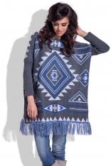 Grafitowy Luźny Sweter z Frędzlami w Azteckie Wzory