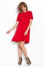 Czerwona Luźna Trapezowa Sukienka z Krótkim Rękawem