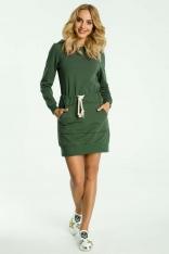 Zielona Sukienka Sportowa Mini z Kapturem