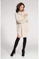 Beżowy Sweter Długi z Szerokim Golfem