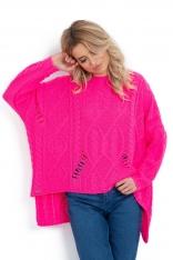 Różowa Asymetryczny Sweter w Ażurowy Splot