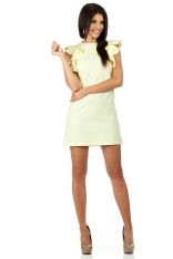 Żółta Mini Sukienka Tuba z Falbankami na Ramionach