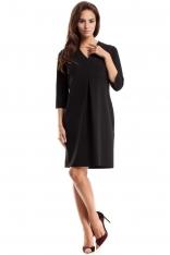 Czarna Sukienka Wizytowa z Fałdą na Przodzie