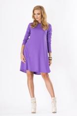 Fioletowa Luźna Sukienka Midi z Długim Rękawem