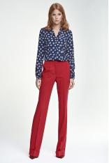 Czerwone Spodnie z Rozszerzanymi Nogawkami z Mankietem