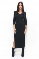 Czarna Sukienka Dresowa Maxi z Rozcięciem