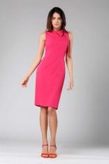 Ciemno Różowa Ołówkowa Sukienka z Kokardą