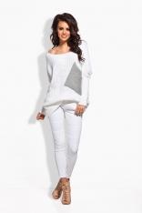 Biały Luźny Sweter z Szerokim Dekoltem