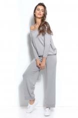 Dzianinowy Szary Komplet Oversizowa Bluza + Spodnie