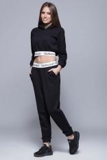 Czarne Sportowe Dresowe Spodnie na Gumie