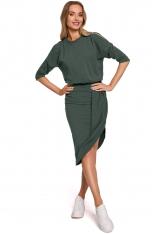 Asymetryczna Sukienka z Wycięciami na Ramionach - Zielona