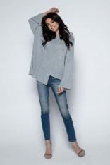 Szary Sweter Asymetryczny z Rozkloszowanymi Rękawami