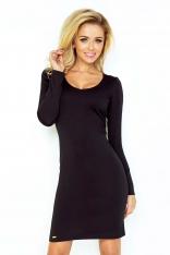 Czarna Sukienka Dopasowana z Długim Rękawem