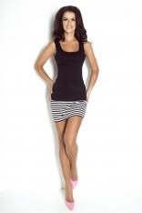 Biało Czarna Dopasowana Spódnica Mini w Paski
