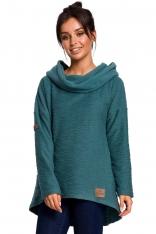 Turkusowa Asymetryczna Bluza Oversize z Kapturem