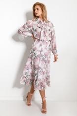 Stylowy Komplet Bluzka i Spódnica w Pastelowe Kwiaty