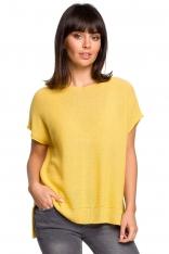 Żółty Asymetryczny Sweter z Krótkim Kimonowym Rękawem