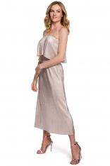 Sukienka Hiszpanka z Metalicznej Plisowanej Tkaniny - Złota