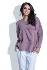 Luźny Liliowy Sweter z Dużą Kieszenią