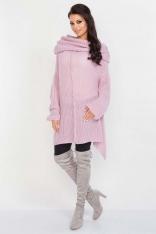 Pudrowy Luźny Długi Sweter z Kominem