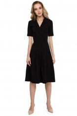Czarna Elegancka Sukienka z Kopertowym Kołnierzem