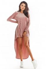 Welurowa Swobodna Sukienka z Przedłużonym Tyłem - Różowa