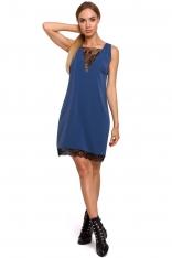 Niebieska Elegancka Luźna Sukienka z Koronką