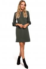 Zielona Dzianinowa Sukienka o Linii A z Falbankami