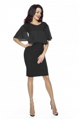 Czarna Sukienka Dopasowana z Szyfonowymi Falbankami