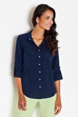 Niebieska Klasyczna Koszula z Podpinanym Rękawem z Kieszeniami