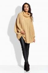 Kamelowy Sweter A'la Ponczo z Golfem