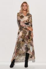 Wzorzysta Sukienka Szyfonowa z Błyszczącą Taśmą - Wzór 16