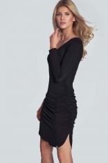 Czarna Casualowa Sukienka o Dopasowanym Kroju