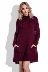 Swetrowa Bordowa Sukienka Oversize z Kieszeniami