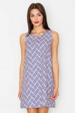 Żakardowa Sukienka bez Rękawów w Geometryczny Wzór 33