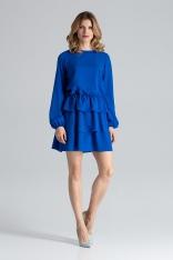Niebieska Romantyczna Wyjściowa Sukienka z Długimi Bufiastymi Rękawami