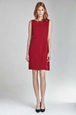 Czerwona Mini Sukienka z Rozcięciem przy Dekolcie bez Rękawów